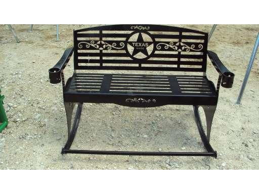 Heavy Duty Metal Outdoor Rocker Bench W Texas Theme For